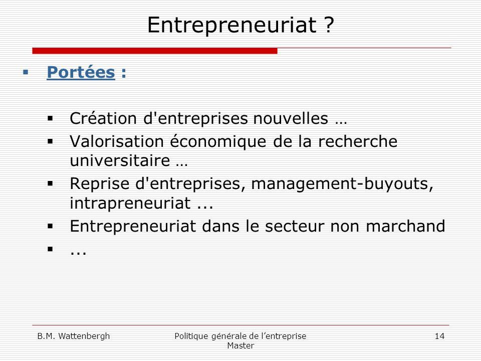 B.M. WattenberghPolitique générale de lentreprise Master 14 Entrepreneuriat ? Portées : Création d'entreprises nouvelles … Valorisation économique de