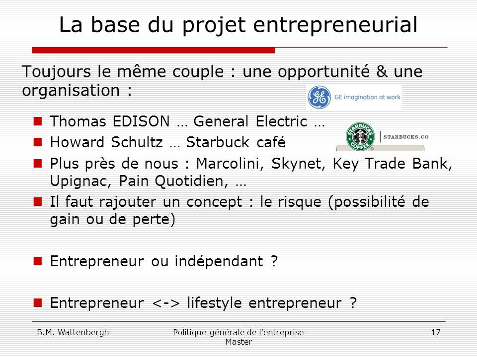 B.M. WattenberghPolitique générale de lentreprise Master 17 La base du projet entrepreneurial Toujours le même couple : une opportunité & une organisa
