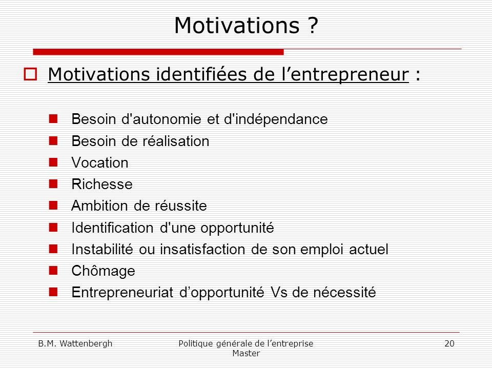 B.M. WattenberghPolitique générale de lentreprise Master 20 Motivations ? Motivations identifiées de lentrepreneur : Besoin d'autonomie et d'indépenda