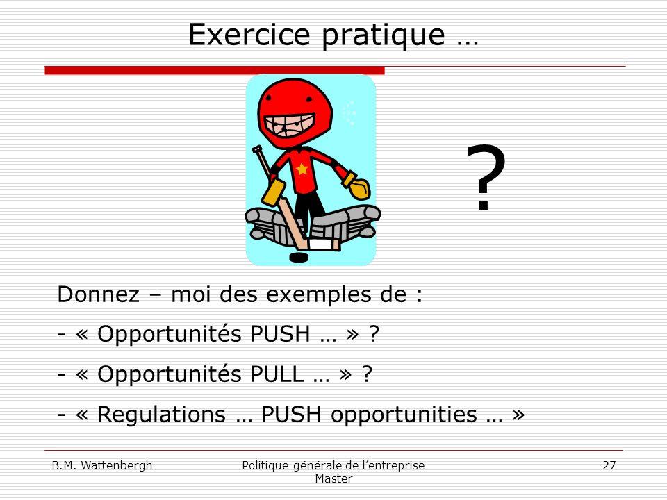 B.M. WattenberghPolitique générale de lentreprise Master 27 Exercice pratique … Donnez – moi des exemples de : - « Opportunités PUSH … » ? - « Opportu