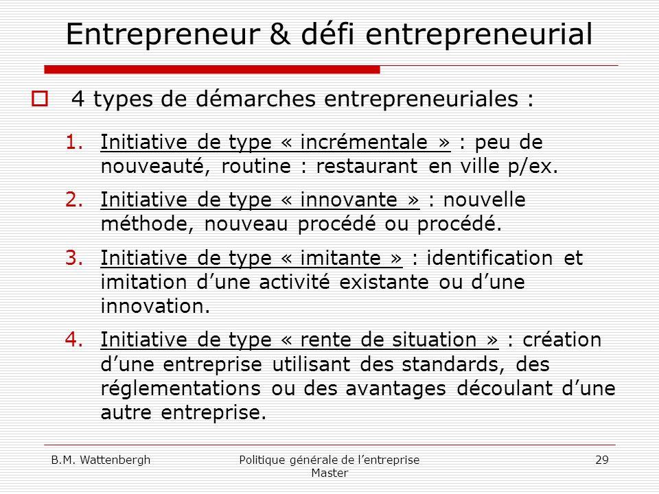 B.M. WattenberghPolitique générale de lentreprise Master 29 Entrepreneur & défi entrepreneurial 4 types de démarches entrepreneuriales : 1.Initiative