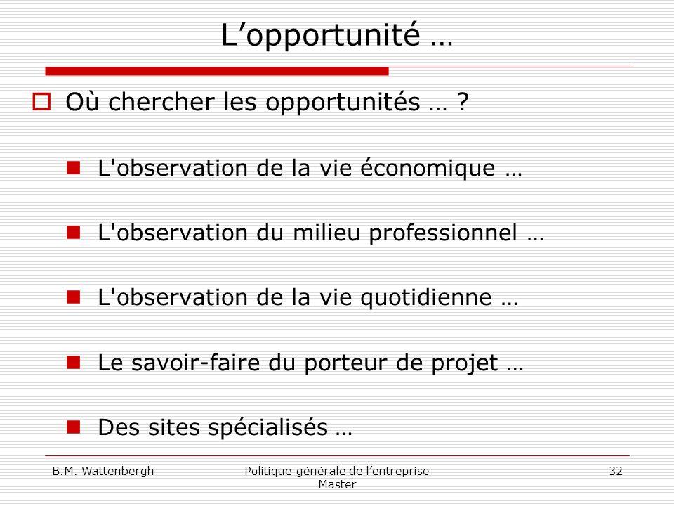 B.M. WattenberghPolitique générale de lentreprise Master 32 Lopportunité … Où chercher les opportunités … ? L'observation de la vie économique … L'obs