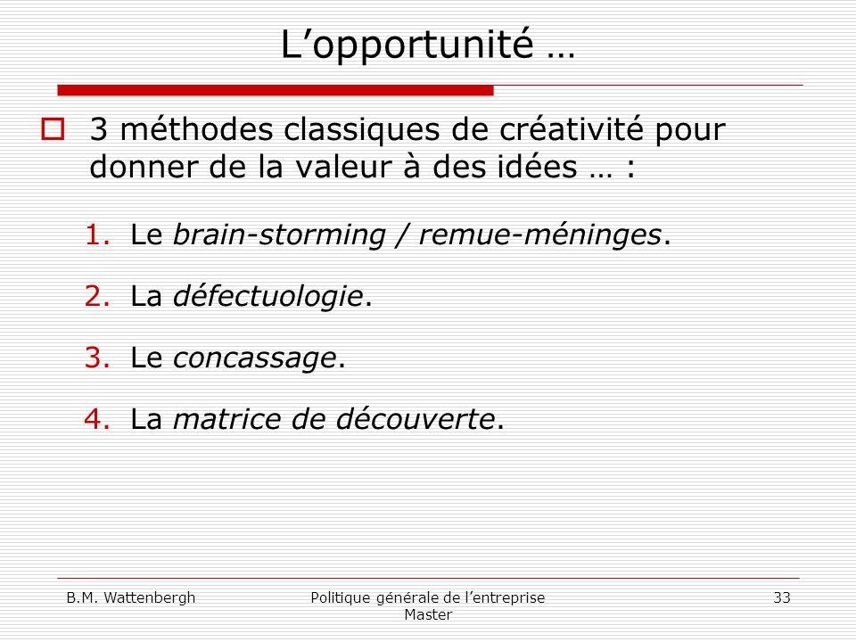 B.M. WattenberghPolitique générale de lentreprise Master 33 Lopportunité … 3 méthodes classiques de créativité pour donner de la valeur à des idées …