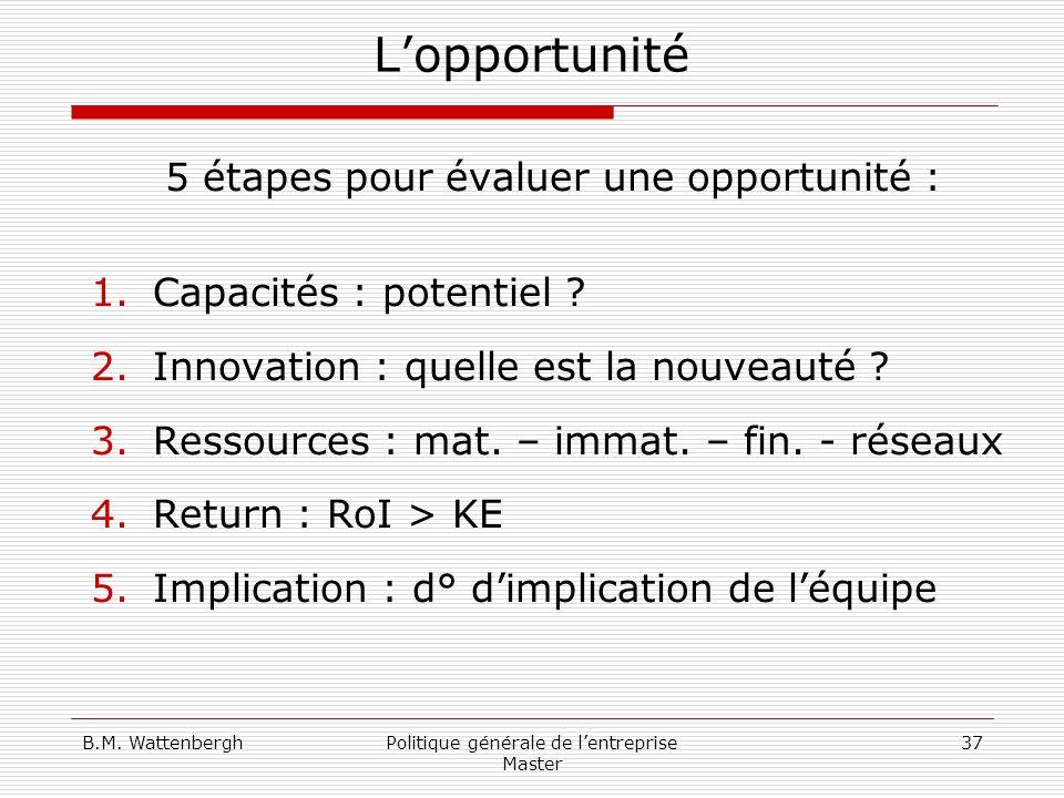 B.M. WattenberghPolitique générale de lentreprise Master 37 Lopportunité 5 étapes pour évaluer une opportunité : 1.Capacités : potentiel ? 2.Innovatio