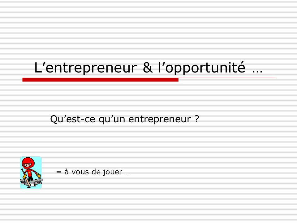 Lentrepreneur & lopportunité … Quest-ce quun entrepreneur ? = à vous de jouer …