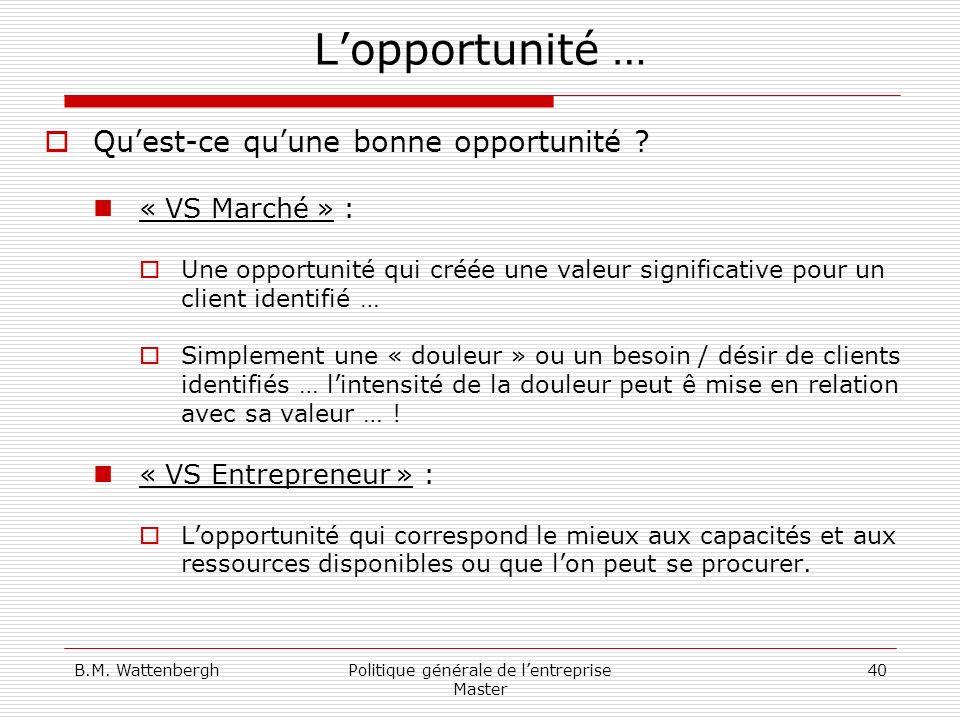 B.M. WattenberghPolitique générale de lentreprise Master 40 Lopportunité … Quest-ce quune bonne opportunité ? « VS Marché » : Une opportunité qui créé