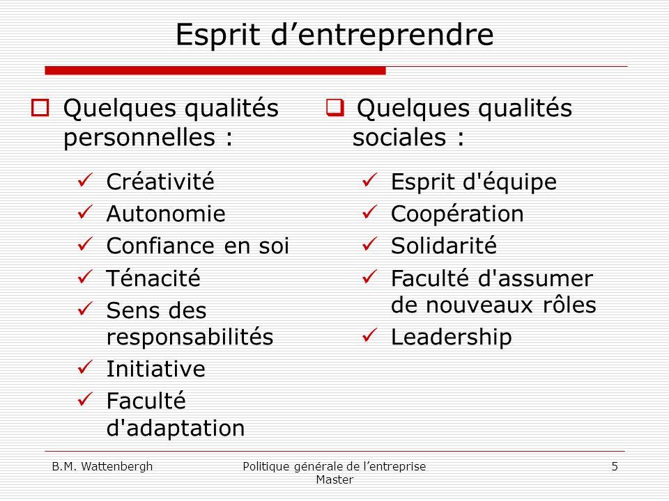 B.M. WattenberghPolitique générale de lentreprise Master 5 Esprit dentreprendre Quelques qualités personnelles : Créativité Autonomie Confiance en soi