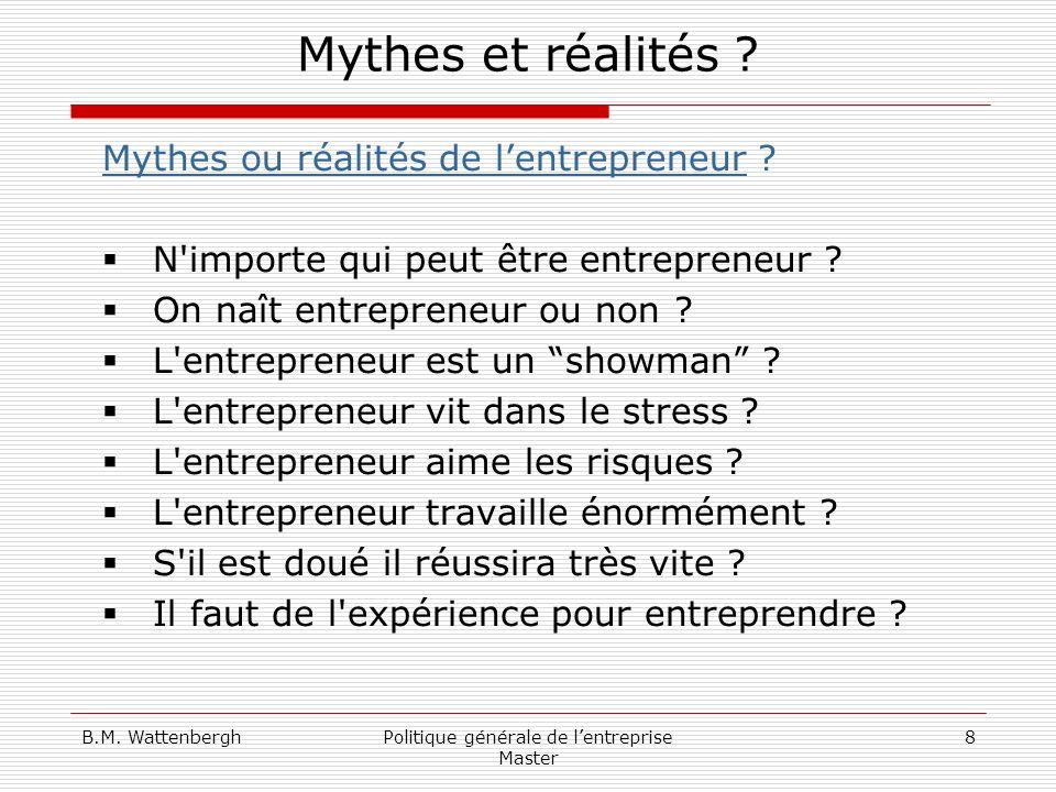 B.M. WattenberghPolitique générale de lentreprise Master 8 Mythes et réalités ? Mythes ou réalités de lentrepreneur ? N'importe qui peut être entrepre