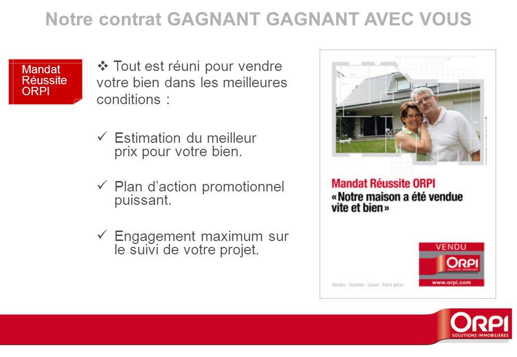 Notre contrat GAGNANT GAGNANT AVEC VOUS Mandat Réussite ORPI Estimation du meilleur prix pour votre bien. Plan daction promotionnel puissant. Engageme