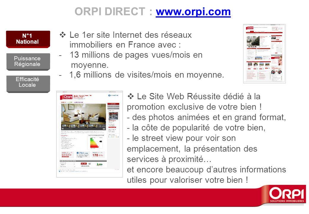 ORPI DIRECT : www.orpi.comwww.orpi.com Le 1er site Internet des réseaux immobiliers en France avec : -13 millions de pages vues/mois en moyenne. - 1,6