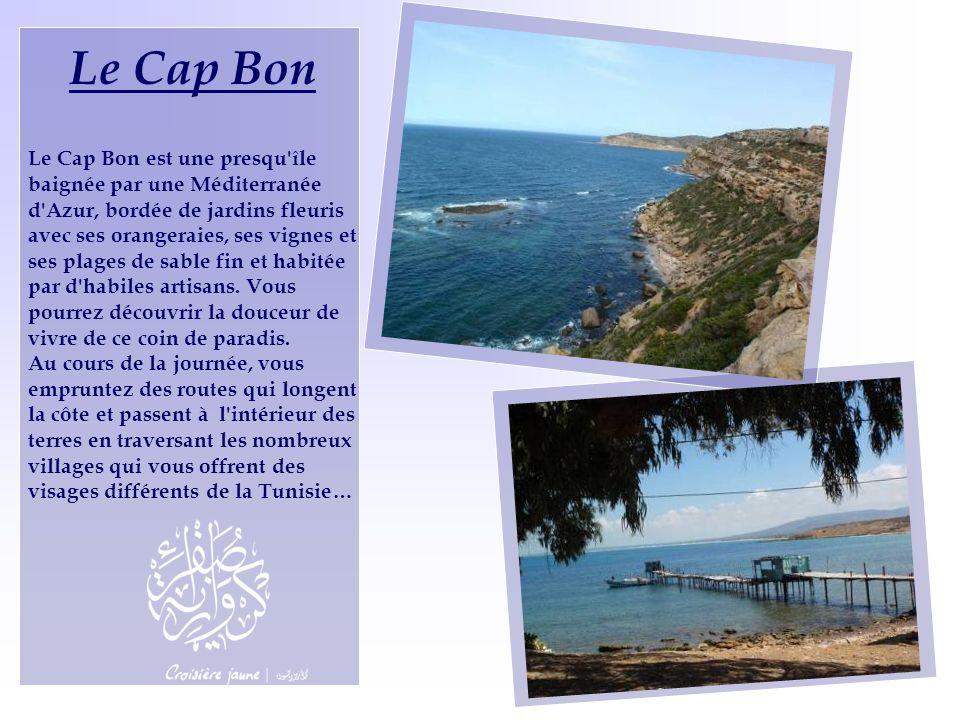 Le Cap Bon Le Cap Bon est une presqu'île baignée par une Méditerranée d'Azur, bordée de jardins fleuris avec ses orangeraies, ses vignes et ses plages