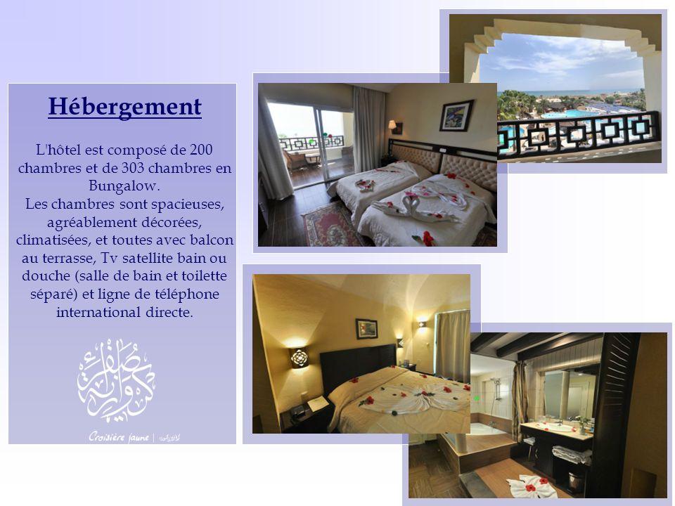 Hébergement L'hôtel est composé de 200 chambres et de 303 chambres en Bungalow. Les chambres sont spacieuses, agréablement décorées, climatisées, et t
