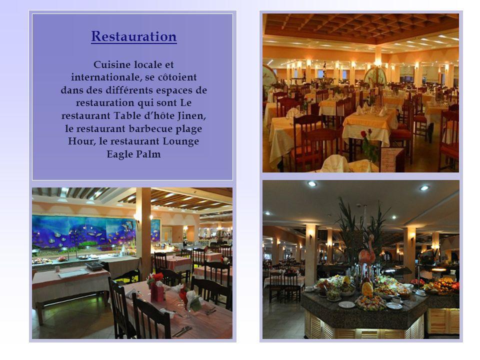 Restauration Cuisine locale et internationale, se côtoient dans des différents espaces de restauration qui sont Le restaurant Table dhôte Jinen, le re