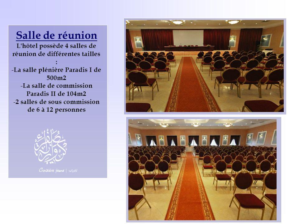 Salle de réunion L'hôtel possède 4 salles de réunion de différentes tailles : - La salle plénière Paradis I de 500m2 - La salle de commission Paradis