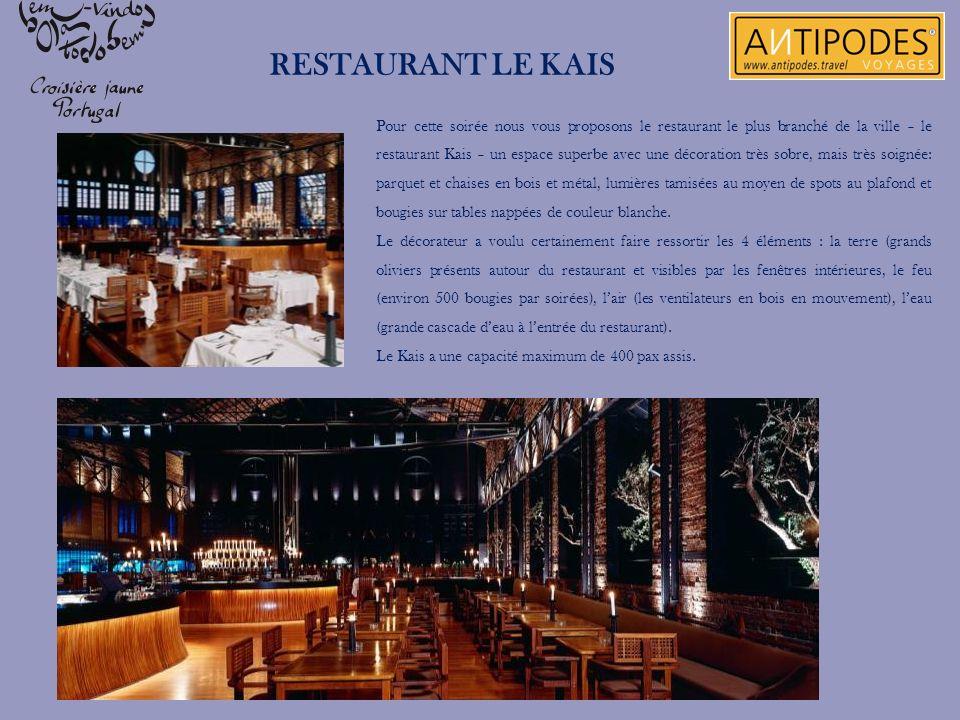 Pour cette soirée nous vous proposons le restaurant le plus branché de la ville – le restaurant Kais – un espace superbe avec une décoration très sobr
