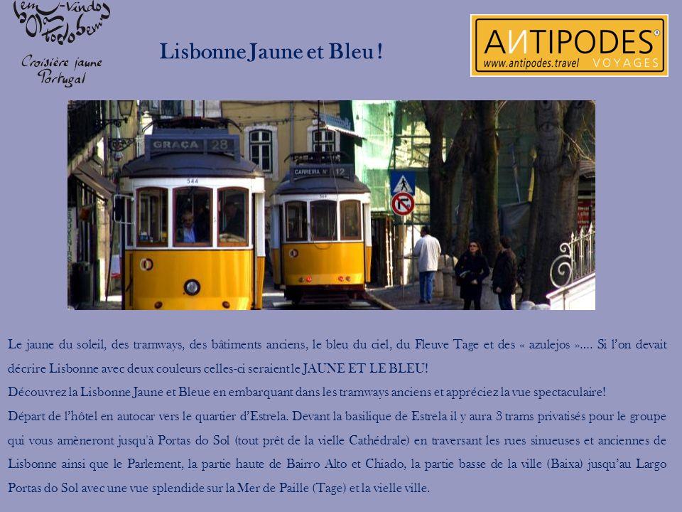 Lisbonne Jaune et Bleu ! Le jaune du soleil, des tramways, des bâtiments anciens, le bleu du ciel, du Fleuve Tage et des « azulejos »…. Si lon devait