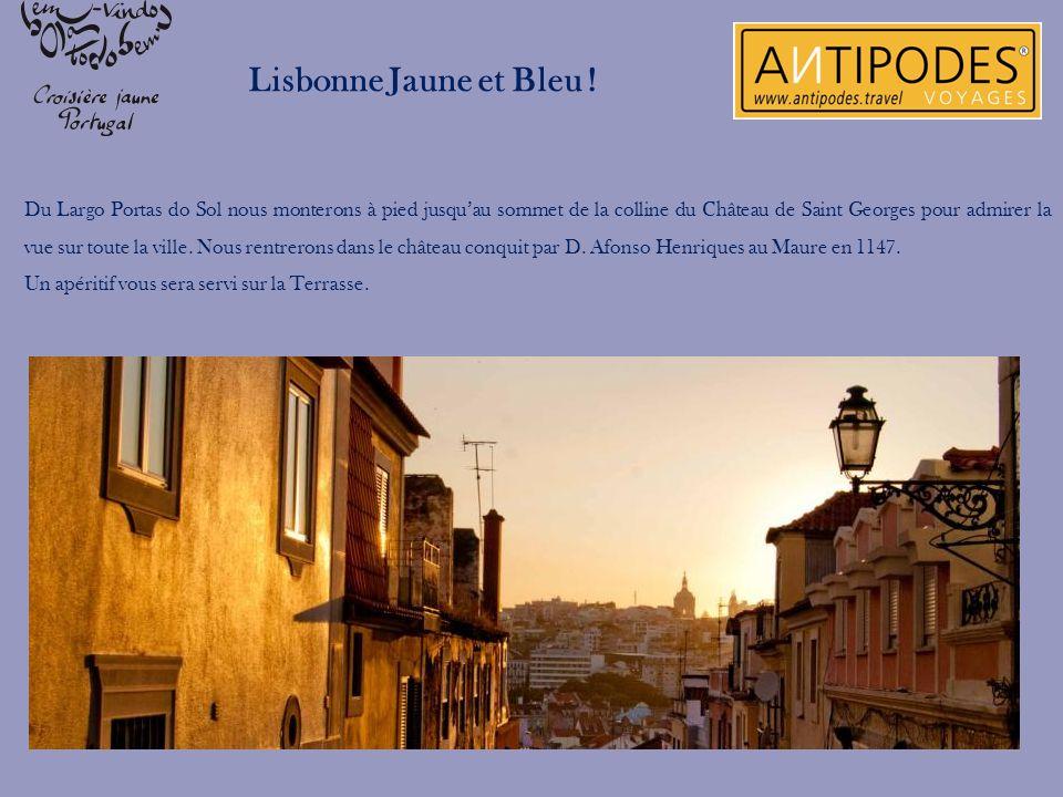 Lisbonne Jaune et Bleu ! Du Largo Portas do Sol nous monterons à pied jusquau sommet de la colline du Château de Saint Georges pour admirer la vue sur