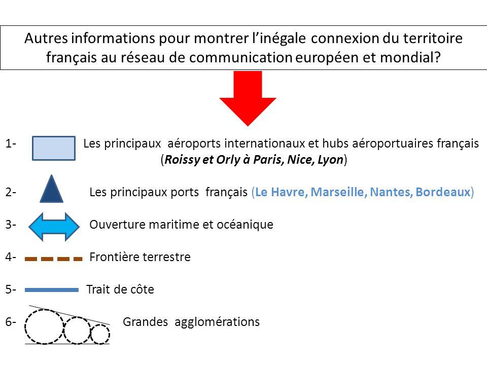 1- Les principaux aéroports internationaux et hubs aéroportuaires français (Roissy et Orly à Paris, Nice, Lyon) 2- Les principaux ports français (Le H