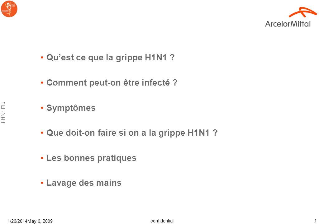 confidential H1N1 Flu 1/26/2014May 6, 2009 11 Les patients de moins de 18 ans doivent éviter lacétylsalicylique (Aspirine) ou semblable.