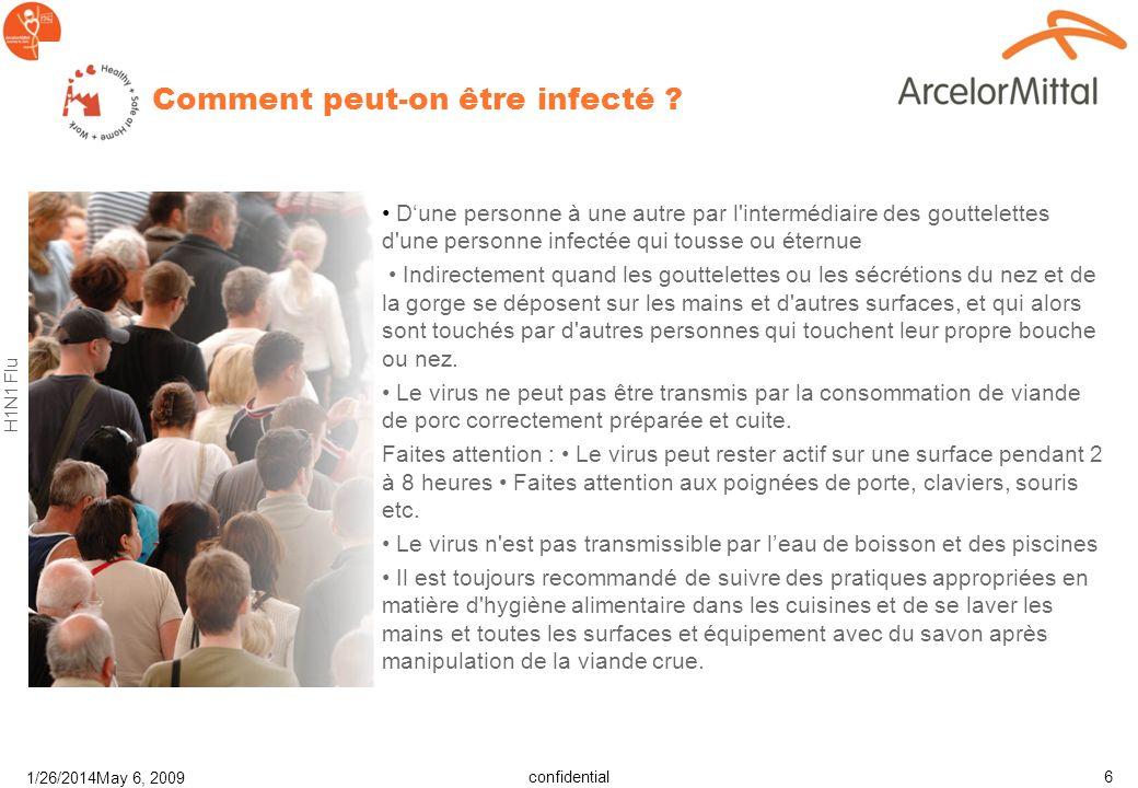 confidential H1N1 Flu 1/26/2014May 6, 2009 6 Comment peut-on être infecté .