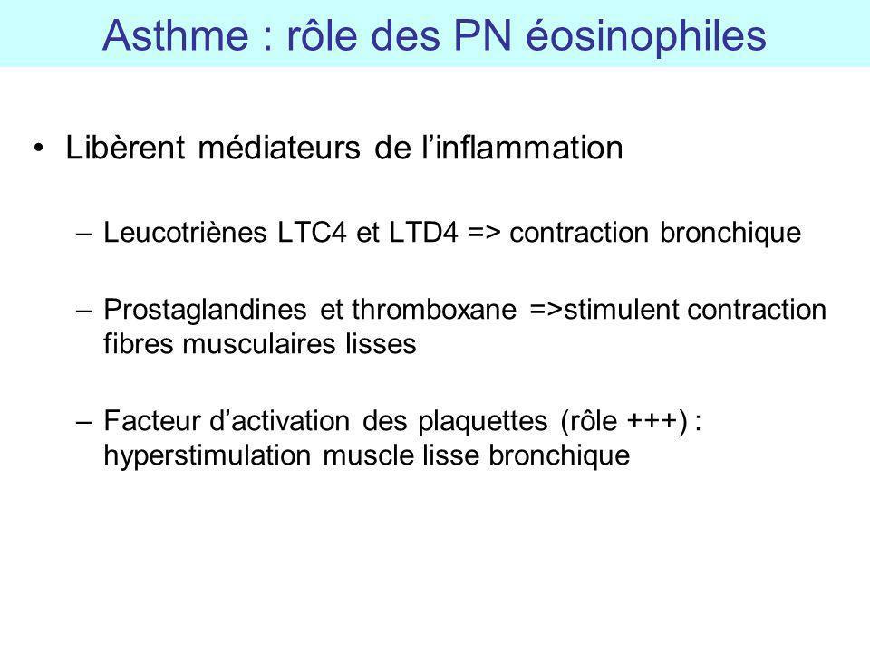 Libèrent médiateurs de linflammation –Leucotriènes LTC4 et LTD4 => contraction bronchique –Prostaglandines et thromboxane =>stimulent contraction fibr