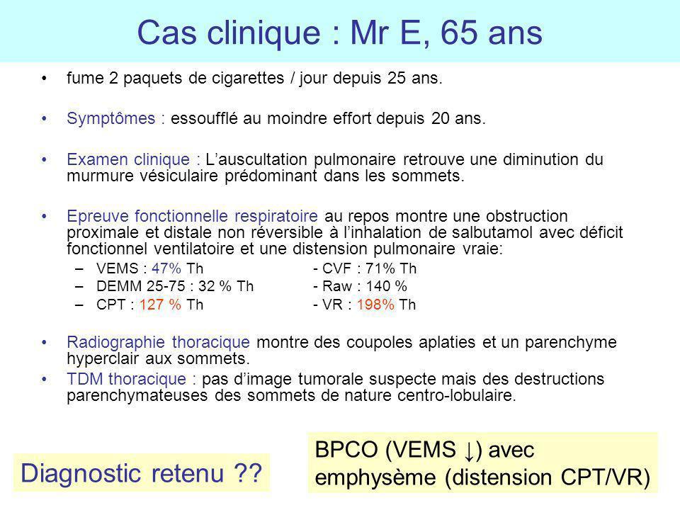 Cas clinique : Mr E, 65 ans fume 2 paquets de cigarettes / jour depuis 25 ans. Symptômes : essoufflé au moindre effort depuis 20 ans. Examen clinique