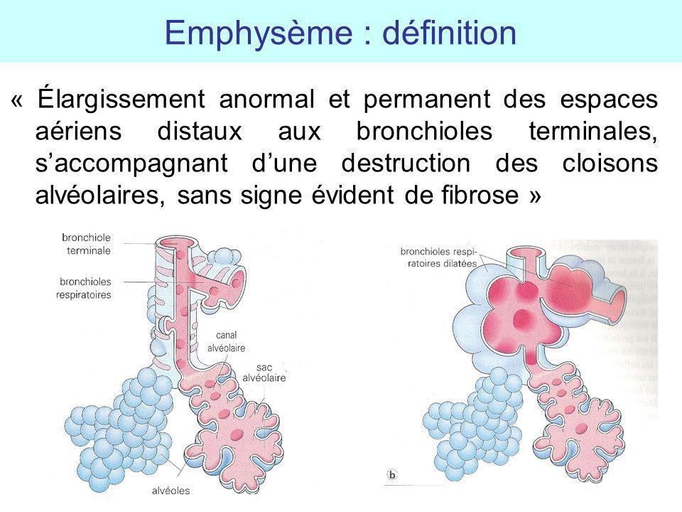 Emphysème : définition « Élargissement anormal et permanent des espaces aériens distaux aux bronchioles terminales, saccompagnant dune destruction des