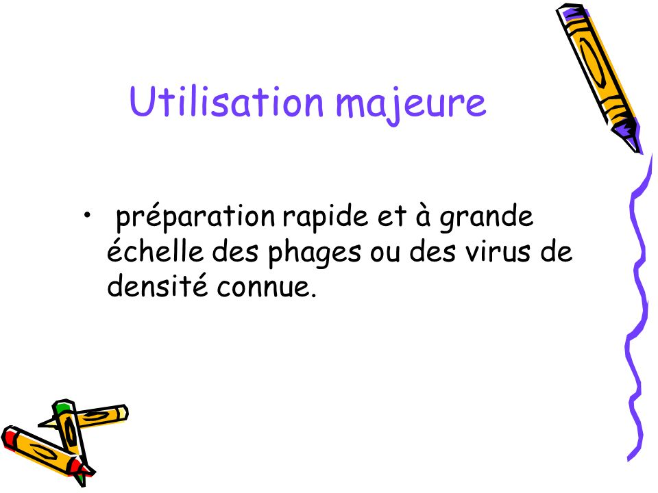 Utilisation majeure préparation rapide et à grande échelle des phages ou des virus de densité connue.