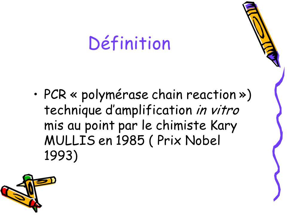 Définition PCR « polymérase chain reaction ») technique damplification in vitro mis au point par le chimiste Kary MULLIS en 1985 ( Prix Nobel 1993)