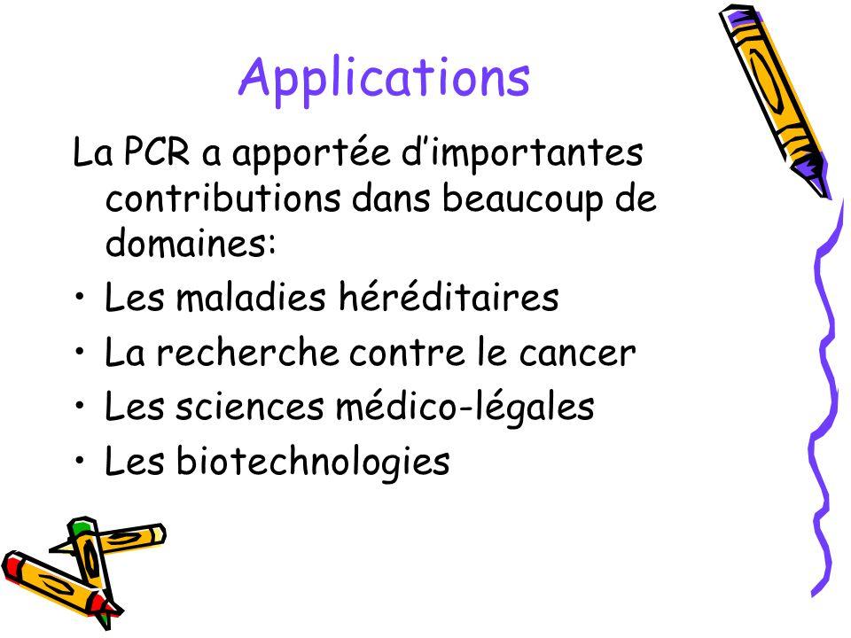 Applications La PCR a apportée dimportantes contributions dans beaucoup de domaines: Les maladies héréditaires La recherche contre le cancer Les scien
