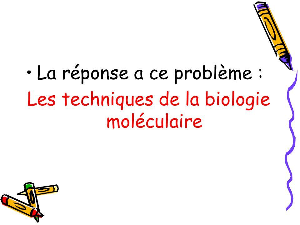 La réponse a ce problème : Les techniques de la biologie moléculaire