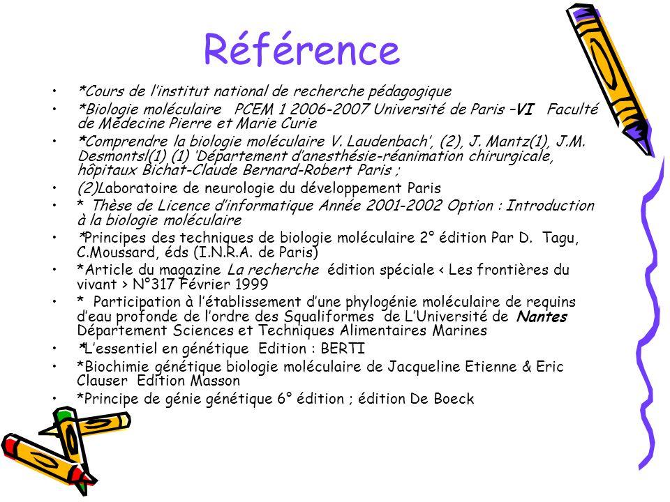 Référence *Cours de linstitut national de recherche pédagogique *Biologie moléculaire PCEM 1 2006-2007 Université de Paris –VI Faculté de Médecine Pie