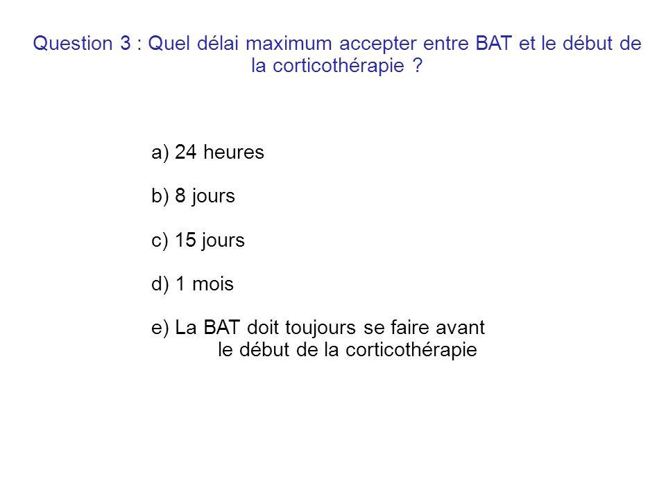 Question 3 : Quel délai maximum accepter entre BAT et le début de la corticothérapie .
