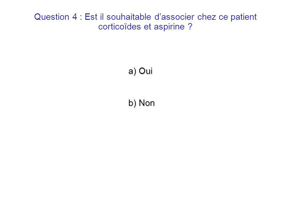 a) Oui b) Non Question 4 : Est il souhaitable dassocier chez ce patient corticoïdes et aspirine ?