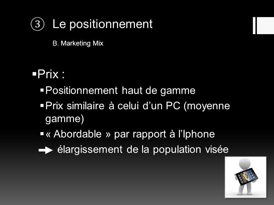 Le positionnement B. Marketing Mix Prix : Positionnement haut de gamme Prix similaire à celui dun PC (moyenne gamme) « Abordable » par rapport à lIpho