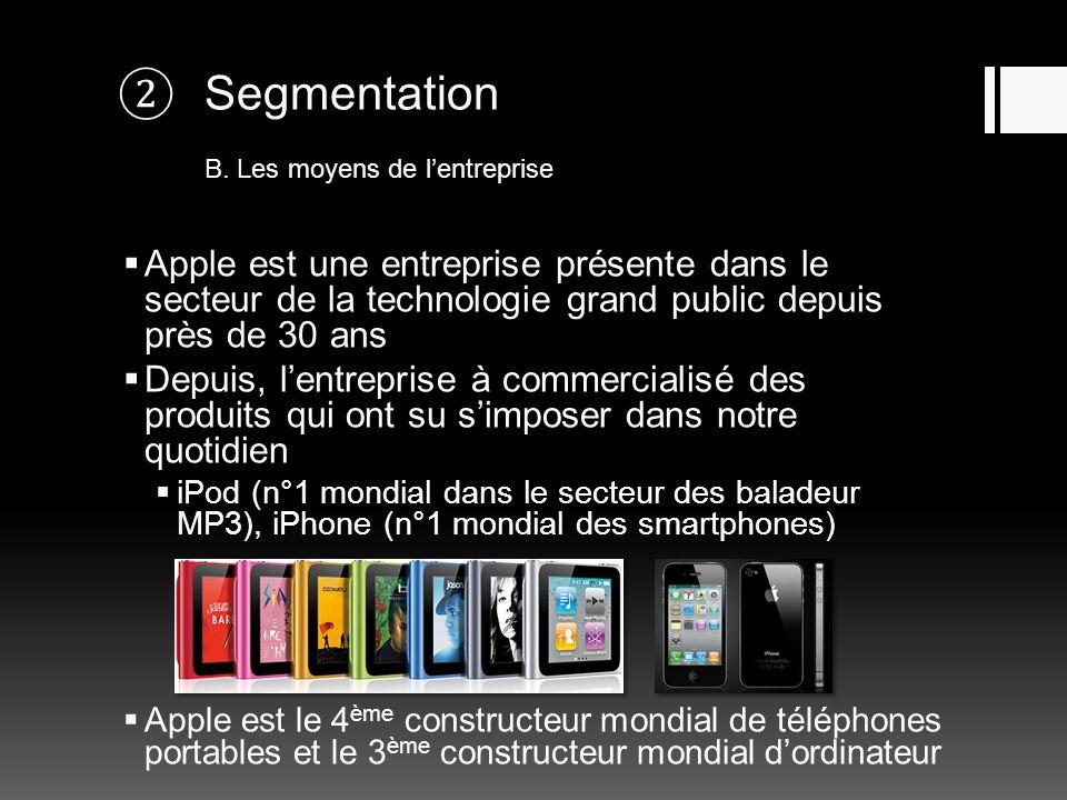 Segmentation B. Les moyens de lentreprise Apple est une entreprise présente dans le secteur de la technologie grand public depuis près de 30 ans Depui