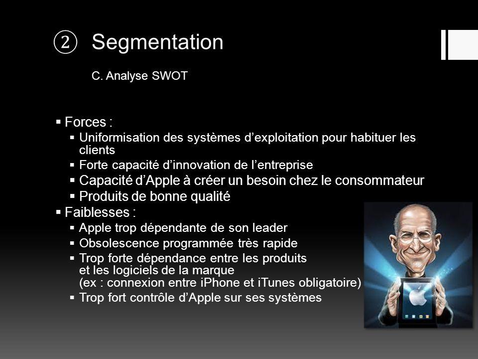 Segmentation C. Analyse SWOT Forces : Uniformisation des systèmes dexploitation pour habituer les clients Forte capacité dinnovation de lentreprise Ca