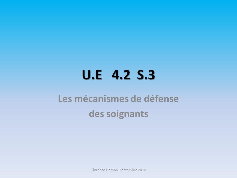 U.E 4.2 S.3 Les mécanismes de défense des soignants Florence Hamon. Septembre 2012