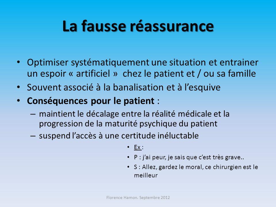 La fausse réassurance Optimiser systématiquement une situation et entrainer un espoir « artificiel » chez le patient et / ou sa famille Souvent associ