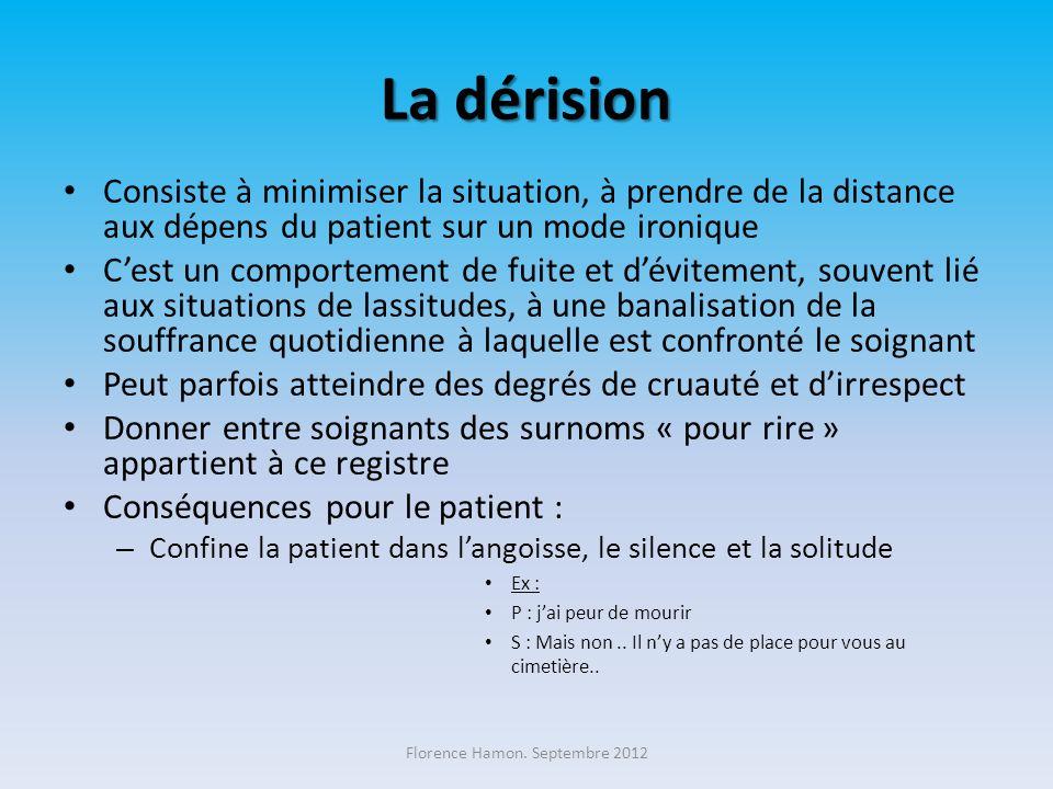La dérision Consiste à minimiser la situation, à prendre de la distance aux dépens du patient sur un mode ironique Cest un comportement de fuite et dé