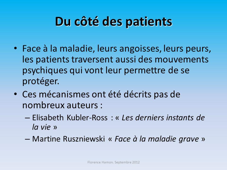 Du côté des patients Face à la maladie, leurs angoisses, leurs peurs, les patients traversent aussi des mouvements psychiques qui vont leur permettre