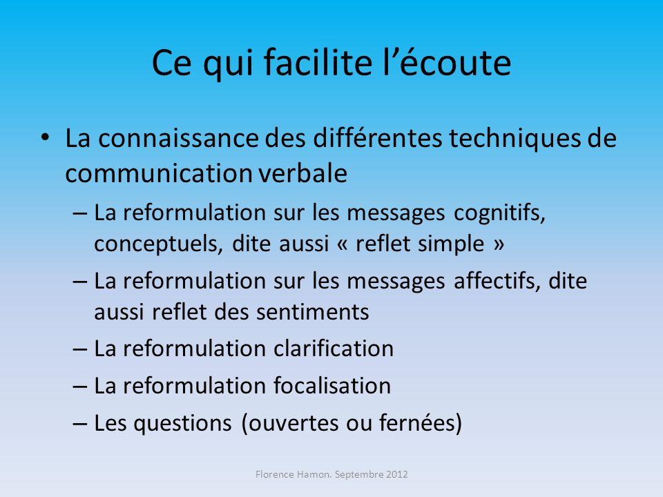 Ce qui facilite lécoute La connaissance des différentes techniques de communication verbale – La reformulation sur les messages cognitifs, conceptuels