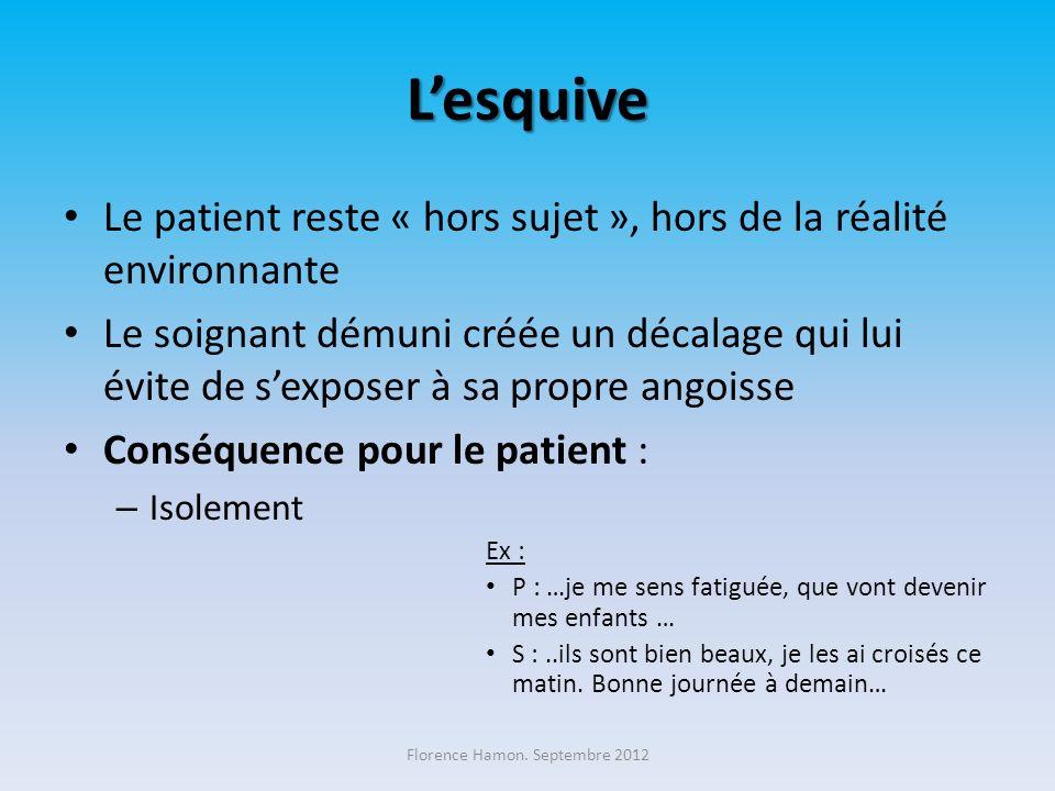 Lévitement Cest la fuite du patient, de la dimension relationnelle – ne pas entrer dans la chambre – parler au dessus du lit avec sa collègue – ne pas regarder le patient lors dun soin etc.