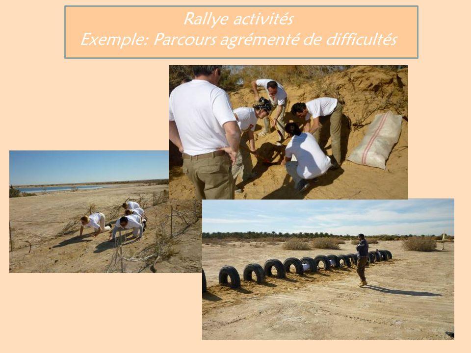 Rallye activités Exemple: Parcours agrémenté de difficultés