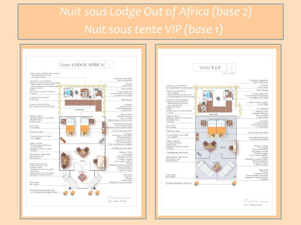 Nuit sous Lodge Out of Africa (base 2) Nuit sous tente VIP (base 1)