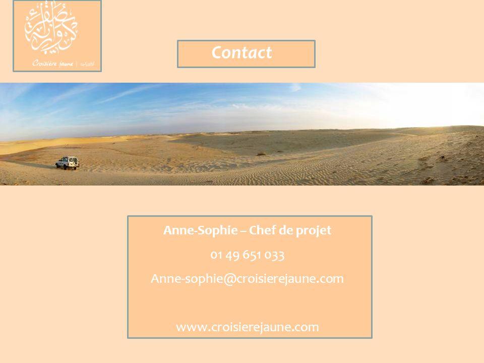 Anne-Sophie – Chef de projet 01 49 651 033 Anne-sophie@croisierejaune.com www.croisierejaune.com Contact