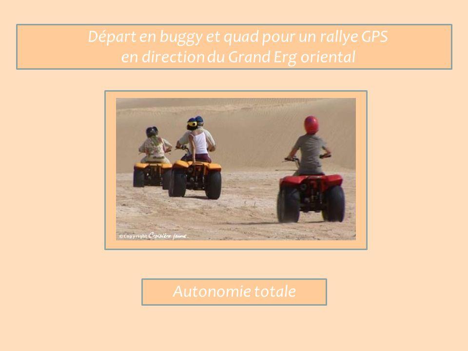 Départ en buggy et quad pour un rallye GPS en direction du Grand Erg oriental Autonomie totale
