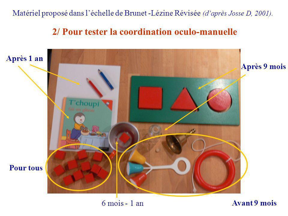 2/ Pour tester la coordination oculo-manuelle Matériel proposé dans léchelle de Brunet -Lézine Révisée (daprès Josse D, 2001). Après 9 mois Après 1 an