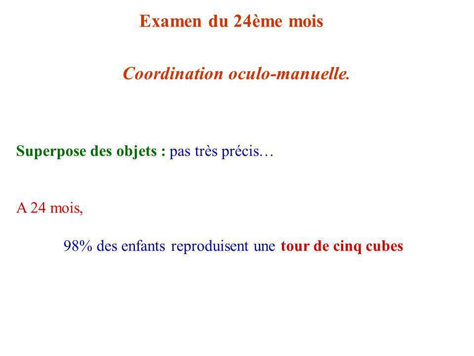Examen du 24ème mois Coordination oculo-manuelle.