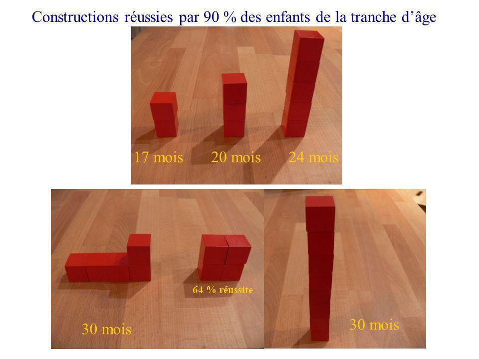 17 mois Constructions réussies par 90 % des enfants de la tranche dâge 20 mois24 mois 30 mois 64 % réussite 30 mois